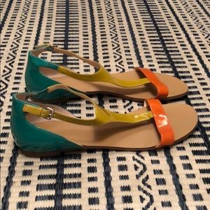 Boutique9 Patent NWT Yellow/Orange/Teal Sandals